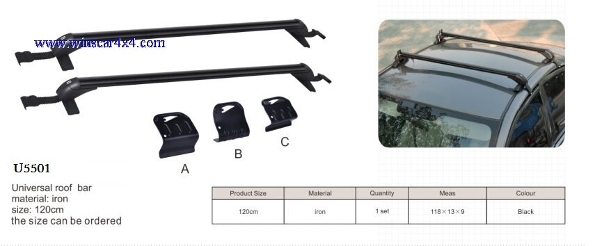 U5501-Universal Roof Bar with 3 Adapters A & B & C to Fit All Cars 120cm