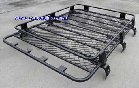 Black Powder Coated Steel Roof Rack with Roof Bar 180x125cm